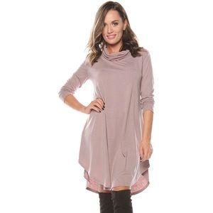 Cowl Neck Shirttail Hem Long Sleeve Tunic Dress
